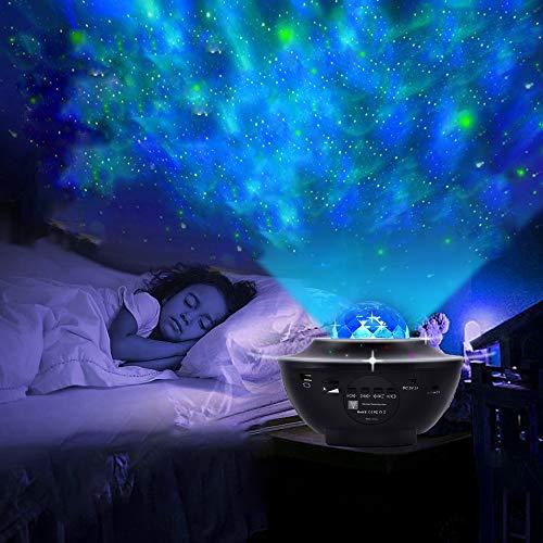 LED Sternenhimmel Projektor, Ozeanwellen Projektor mit Fernbedienung 360°Drehen 3 Helligkeitsstufen Beste Geschenke für Party Weihnachten Ostern(Schwarz)