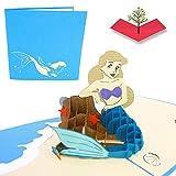 PopLife Cards Tarjeta de felicitación hermosa de la sirena 3d popup para toda la tarjeta del día de madre de las ocasiones, regalo de la sirena, partido de la sirena, pliegues de la cola de la sirena