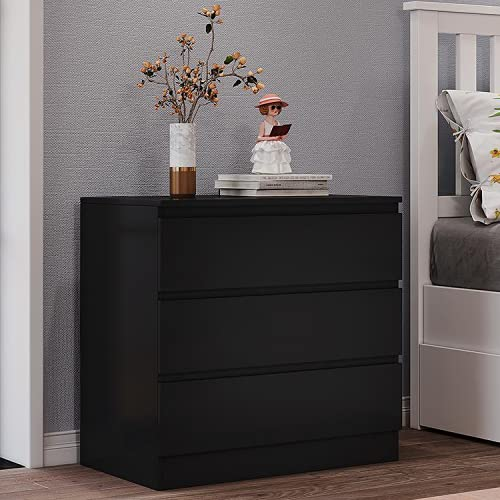 Panana Wooden 3/4/5/6 Chest of Drawers with Metal Runners Modern Bedside Storage Cabinet for Living Room Hallway Bedroom (Black, 3 Drawer Chest)