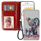 iPhone 5C Wallet Case Watercolor Elephant PU Leather Card Holder Phone Cover with Kickstand Wrist Strap for Watercolor Elephant iPhone 5C Case