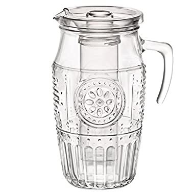 Bormioli Rocco Romantic Carafe Water Pitcher, Ice Core and Lid For Cold Drinks, 60.75 Ounces or 1.8 Liters, Clear Glass With Vintage Floral Design To Complement Iced Tea, Lemonade, and Sangria