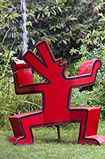 Home Comforts Peel-n-Stick Poster of Keith Haring Dog Artwork Sculpture Red Dog Barking Vivid Imagery Poster 24 x 16 Adhesive Sticker Poster Print