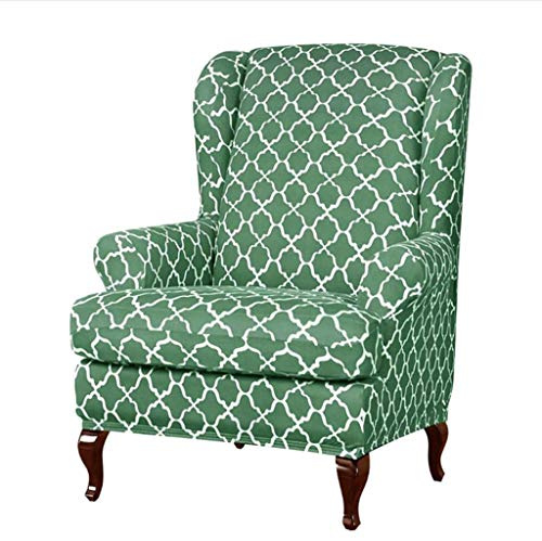 SINKITA Jacquard Wingback Chair Covers,Stretch Armchair Chair Feature Soft Furniture Protector Slipcover Wing Chair Slipcover-Light green-2-Piece