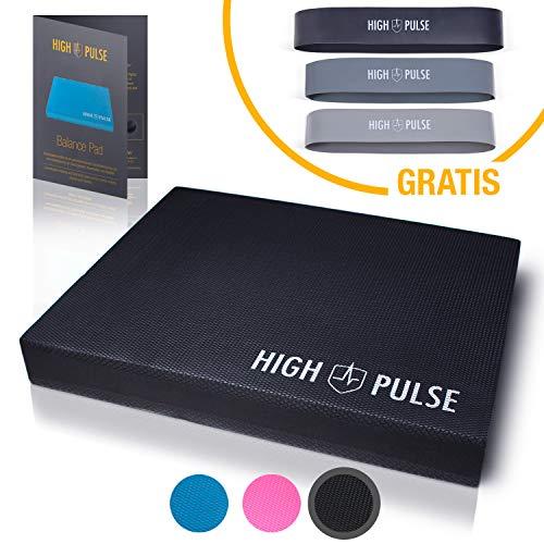 High Pulse® XXL Balance Pad inkl. 3X Fitnessbänder + Poster – Balancekissen für EIN verbessertes Gleichgewicht, Koordination und Stabilität (Schwarz)
