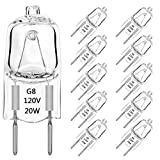 G8 Halogen Bulbs Dimmable 20 Watt 120V T4 JCD Type G8 Base Bi-Pin Shorter 1-3/8' (1.38') Length for Under Cabinet Puck Lights, Kitchen Hood, Landscape Lights, Desk Lamps, Warm White 2700K (10 Pack)