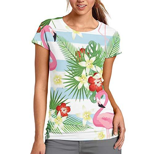 Damen-T-Shirt mit tropischem Flamingo-Muster, kurzärmelig, Tunika, Top, Rundhalsausschnitt, Bluse, bequem, Polyester, weiß, xl