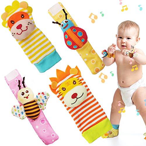 Sonajero Calcetines y Muñequeras 4pcs para Bebé Animales Suaves y Bonitos para Recién Nacido Niño Niñas