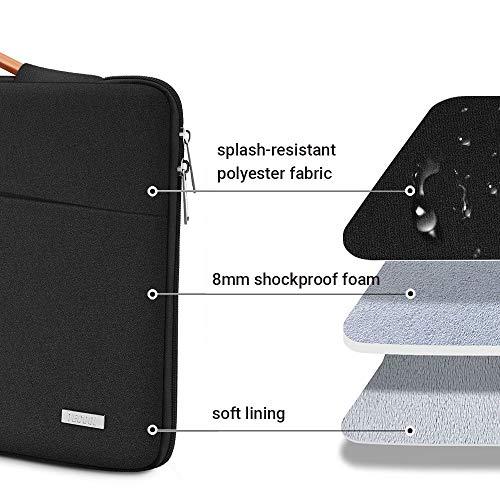TECOOL 15,6 Zoll Laptop Hülle Tasche Notebooktasche Stoßfestes Tragetasche Schutzhülle mit Griff für 15,6 Zoll Acer/Dell/HP/Lenovo Notebooks, Pures Schwarz
