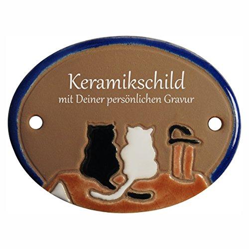 Handarbeit aus Schleswig-Holstein Keramikschild 8,5 x 6,5 cm - Motiv: Zwei Katzen auf dem Dach