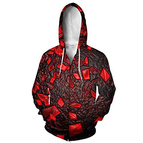 Sudadera con capucha unisex impresa en 3D con cremallera completa, diseo de Vortex de manga larga, con bolsillos, para hombres y mujeres
