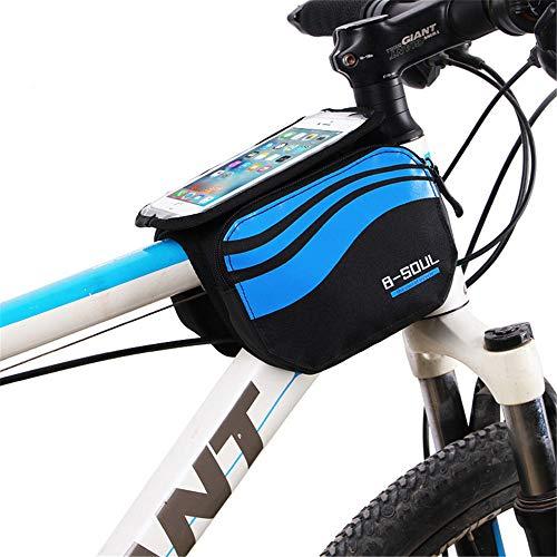 GSDJU Bicicleta Bicicleta De Montaña Bolsa De Tubo Superior Bolsa De Viga Delantera Bolsa De Accesorios De Bicicleta Bolsa Impermeable para Teléfono Móvil 5.7 Pulgadas Azul Tímido