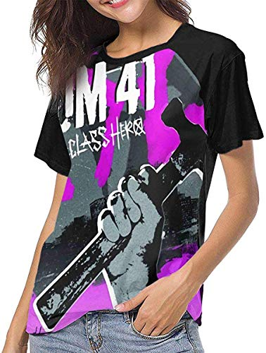Kurzarm T Shirts für Frauen,Blusen für Damen Sum 41 Womens Baseball Short Sleeve Round Neck T Shirt Summer Ladies Printing Casual Crop