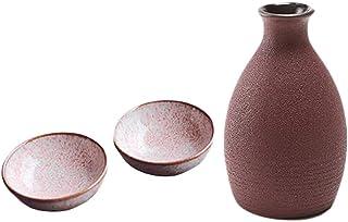 3 Pcs Japanese Style Ceramic Wine Bottle White Wine Cup Household Wine Sake Cups