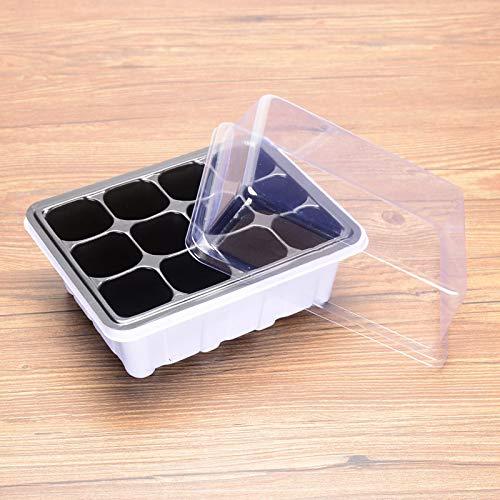 Juego de 10 bandejas de plántula, bandeja de plástico, para iniciar semillas de turba, semillas, caja de cultivo, kit de germinación de semillas para comenzar y cultivar, 12 agujeros por bandeja