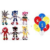 Nonbrand 6pcs/Set 11'' Sonic The Hedgehog Plush Toy Sonic/Shadow/Silver The Hedgehog Doll Sonic Shadow Tails Amy Rose for Child Animals Toys Gift+ 6pcs Latex Balloon