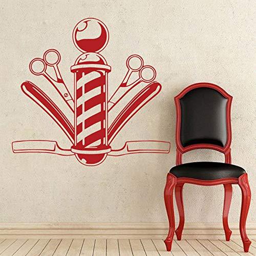 Friseur Friseur Schaufenster Aufkleber Kamm Schere Vinyl Wandtattoo Friseur Salon Design Friseur Wanddekoration Aufkleber Wandbild A4 57x53cm