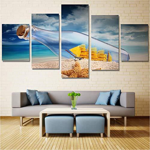 Gtfzjb 5 panelen elke set muur decoratie bedrukt hoge kwaliteit Drift fles met vol geluk Canvas schilderijen muur kunst foto's Home Decor