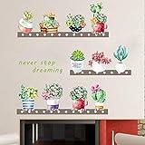 XCJX Flavor Blumentopf Schmetterling frisch Wandsticker Wohnzimmersticker Schlafzimmer Tapete selbstklebend Ornamentsticker 62x63cm