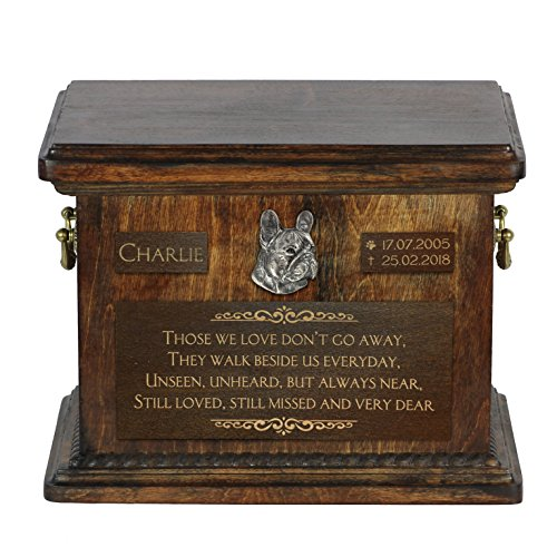 French Bulldog, urn for Dog's Ashes with Relief and Sentence with Your Dog Name and Date