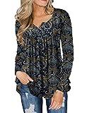 FOLUNSI Women's Plus Size Shirts Casual Blouse Long Sleeve Button Up Tunic Tops Henley Shi...