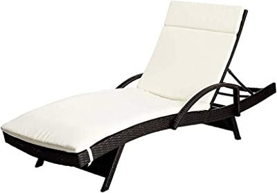 GHY Sunbathing Lounge Chair Arms Beige Cushion Brown PE Wicker Aluminum Frame Adjustable Back Stackable Pool