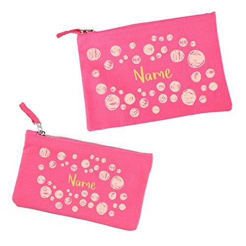 Herz & Heim® Kosmetiktaschen im Set - Pink mit Kreisen - mit Namensaufdruck