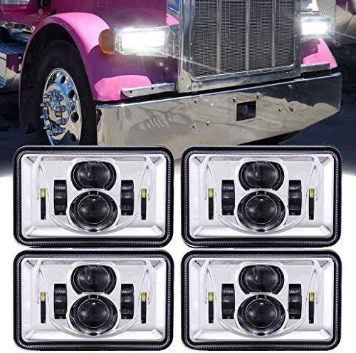 Z-OFFROAD 4pcs 60W Rectangular 4x6 Led Headlights Dot Approved H4656 H4651 H4652 H4666 H6545 Headlight Replacement for Freightliner Peterbilt Kenworth Chevrolet Oldsmobile Cutlass Trucks - Chrome