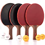 Jebor Ping Pong Paddle and Table Tennis Rackets and Set of 4 with Pure Log and Long Handle Professional/Recreational Game Racquet, Practice Training Bat, Accessories Bundle Portable Kit Cover Case B