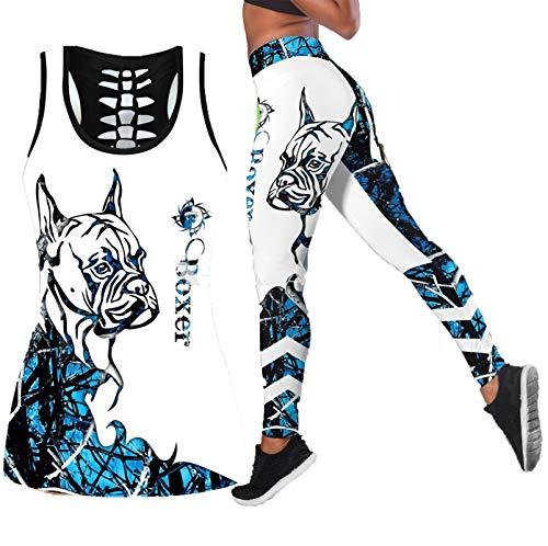 E.Rirevce Boxer Azul Tatuajes Perro Yoga Conjunto Mujeres impresión 3D Hueco Fuera Tanque Cintura Alta Legging