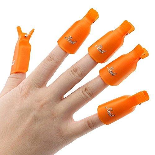 10pc Plastique Nail Art Tremper Le Capuchon De Clip Gel uv Outil De Pellicule De Vernis à Ongles - 15 couleur de votre choix (Orange)