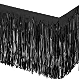 Allgala 2-Pack 29x108 Inch Metallic Foil Fringe Tinsel Table Skirts for Party Event Decoraton-Black-BD52802