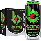 Bang Sour Heads Energy Drink, 0 Calories, Sugar Free with Super Creatine, 16oz, 4 Count