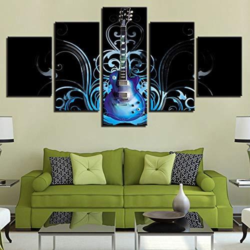 Zaosan Malerei Leinwand Wand Künstler Dekoration 5 Stücke Moderne Instrument Gitarre Wohnzimmer mit Rahmen