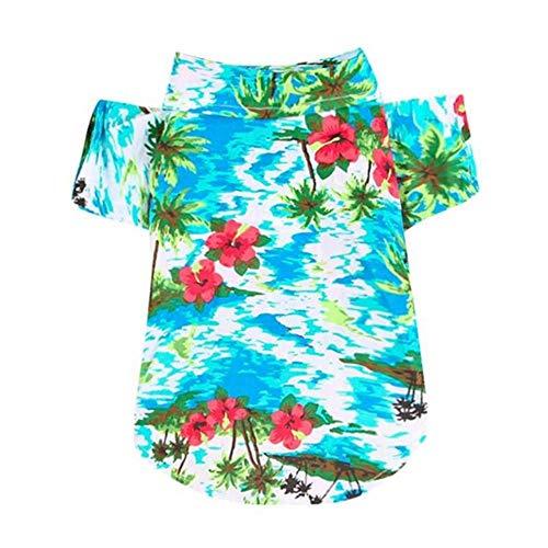 WENGE Hond Kleding Zomer Strand Shirt Hond Leuke Print Hawaii Beach Casual Huisdier Reizen Shirt Ananas Bloemen Korte Mouw Kat Blouse, L, C