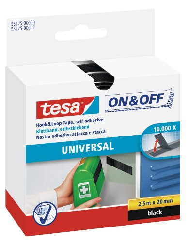 tesa On & Off Klettband zum Aufkleben - Selbstklebendes Klettklebeband zur Befestigung leichter Gegenstände - Schwarz, 2 cm x 250 cm