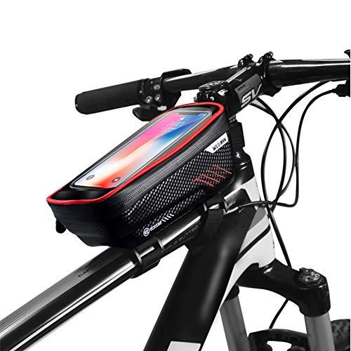 Borsa Telaio Bici, Borse Bicicletta Telaio Anteriore Borsa, Impermeabile Borsa per Biciclette, Touch Screen Porta Telefono Borsa Porta Cellulare Bici Borse per iPhone XS/X/Samsung S9/S8 Fino a 6,2'