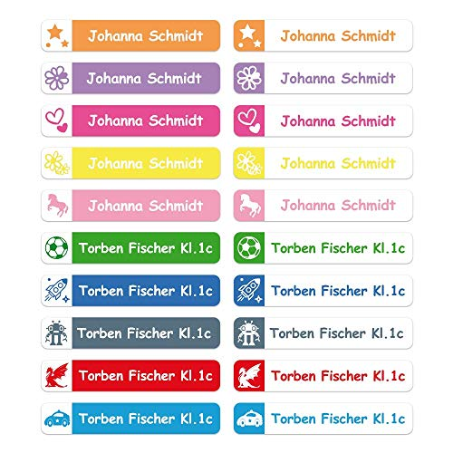 foliado® Namensaufkleber Stifteaufkleber Kinder Etikett 40x7mm Sticker Namensetikett Schule Kita personalisierte Klebeetiketten wasserfest (60 Stück) APD-013