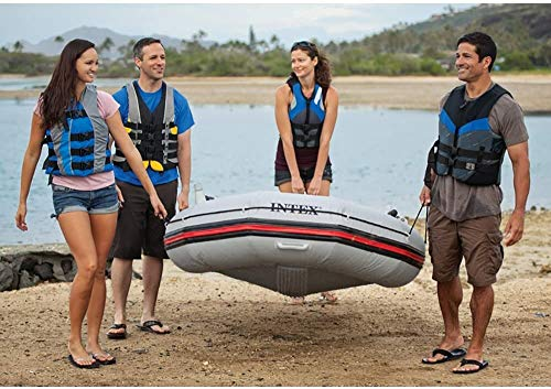HWZQHJY 4-Person Inflatable Boat Set Aluminum with Oars High Output Air Pump 3 The strong molecular structure of this plastic makes it highly resistant to damage from abrasion, impact and sunlight. Four Boston valves on main hull chamber for quick-fills and fast-deflations. The keel is inflatable; this results in improved control and handling.