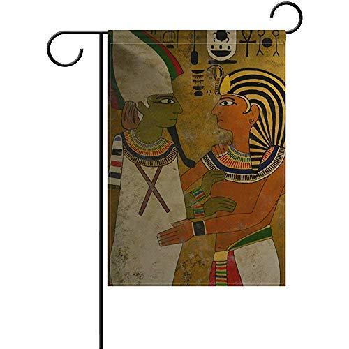 NA Bandera de jardín Vintage Casa egipcia Antigua Banderas para el hogar 12.5 x 18 Pulgadas Bandera de Patio de Bienvenida Decorativa de Vacaciones de Invierno de Doble Cara
