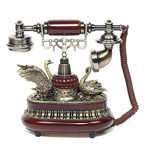 FSK/DTMF - Teléfono fijo retro para el hogar o la oficina, color rojo