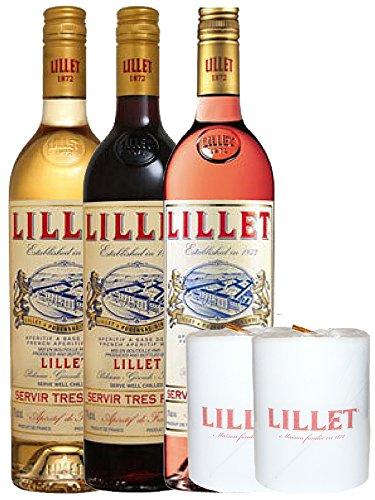 Lillet Mischset Je 1 x Blanc, Rose, Rouge Weinaperitif Frankreich und Lillet Lampionkerzen 2 Stück