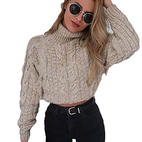 Hemlock Women Winter Knitted Sweater Turtleneck Cropped Sweater Coat High Collar Outerwear Pullovers Khaki