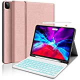 iPad Pro 11 Backlit-Keyboard Case 2020 - JUQITECH Smart Case with Keyboard for iPad Pro 11 2020 2018 1st 2nd Gen Detachable Wireless Bluetooth Keyboard Cover Support Apple Pencil Charging, Rose Gold