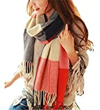 heekpek Mujeres caliente Mantas Cozy Pashmina bufanda larga tartán enrejado mantón (Rojo+Azul)