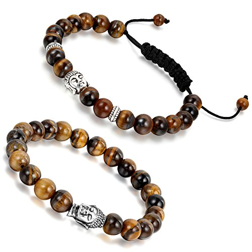 Aroncent Pulsera Budista de Buena Suerte con Cuenta de Ojo de Tigre Brazalete Rezado Ajustable Forma Cabeza de Buda 8MM 2PCS para Pareja