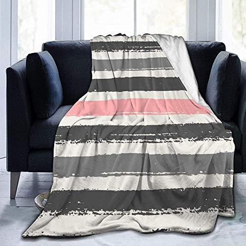 DWgatan Manta,Manta de Felpa de Microfibra Estampada con Rayas Rosa Claro y Gris Oscuro para Dormitorio, Sala de Estar, sofá, Cama, sofá para niños y Adultos -80'x 60'