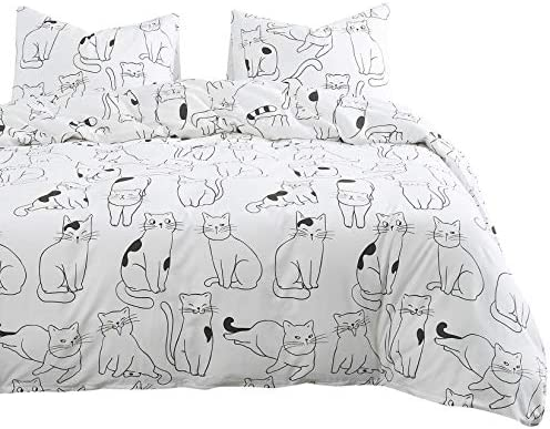 Wake In Cloud Cats Comforter Set 100 Cotton Fabric with Soft Microfiber Fill Bedding White with product image