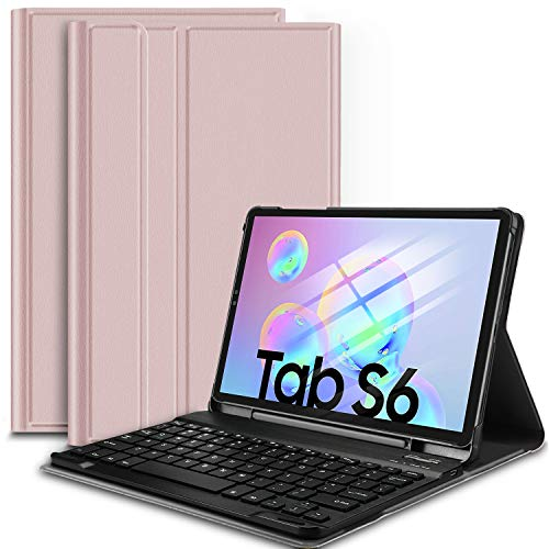 IVSO Keyboard Case for Samsung Galaxy Tab S6 10.5 Inch 2019 SM-T860/SM-T865,Premium PU Leather Stand Cover with Removable Wireless Keyboard(Rose Gold)