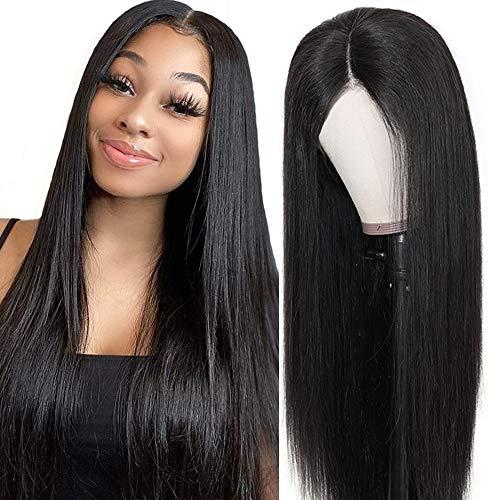 Echthaar perücke Human Hair 360 lace front wig straight smooth natural hair Echthaarperücken für schwarze Frauen real remy brazilian hair (18 inch/45 cm, Natürliche)