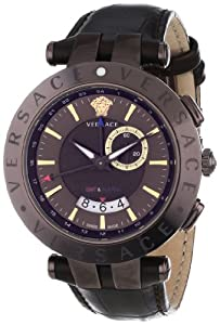 Versace Men's 29G60D598 S497 'V-Race Brown' Stainless Steel Watch with Leather Band